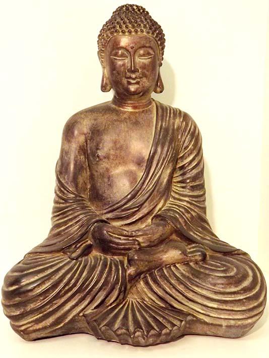 Große Amithaba Buddha Urne Lotussitz Dunkelgold (4,5 Liter) Buddha Urnen