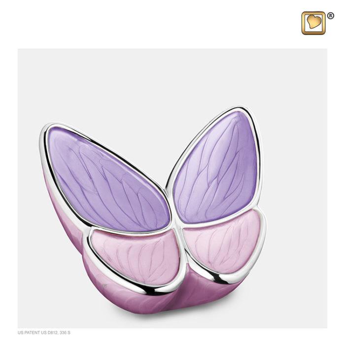 Kleine LoveUrns Schmetterlinge Tierurne Rosa (0,4 Liter) Schmetterlinge für Asche aus Messing