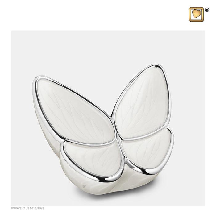 Kleine LoveUrns Schmetterlinge Tierurne Weiße (0,4 Liter) Schmetterlinge für Asche aus Messing
