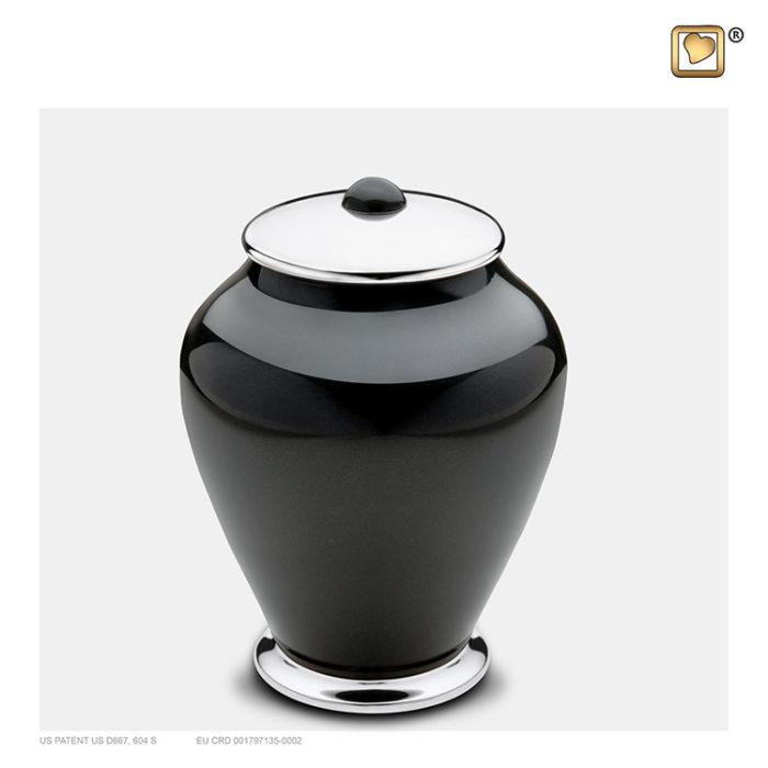 Kleine LoveUrns Einfachheit Urne Schwarz-Silber (0,8 Liter) Messing Einfachheit Urnen