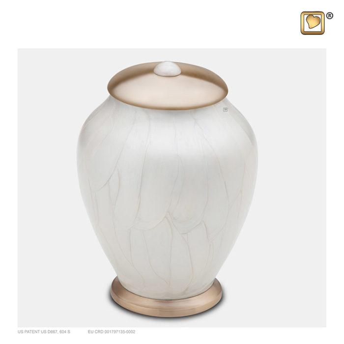 Kleine LoveUrns Einfachheit Urne Weiße Marmor (0,8 Liter) Messing Einfachheit Urnen
