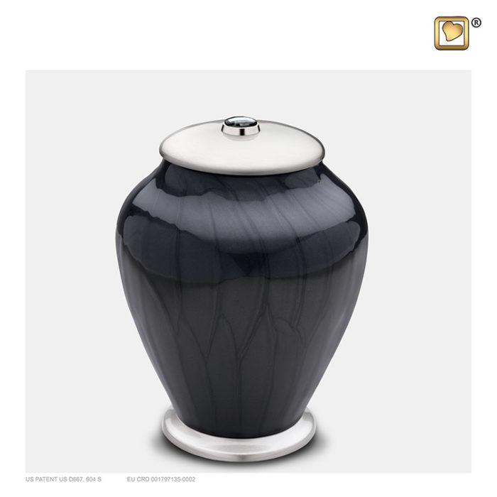 Kleine LoveUrns Einfachheit Urne Schwarze Marmor (0,8 Liter) Messing Einfachheit Urnen