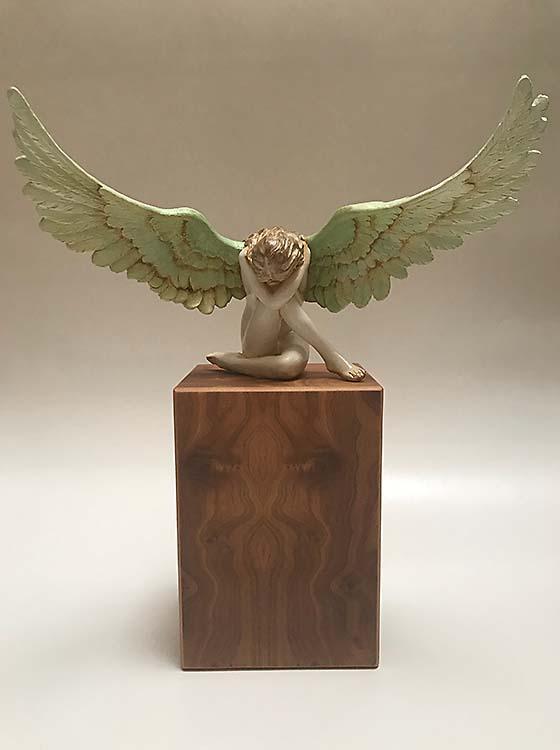 Asche Figur Engel auf MDF Sockel Handgemalte (3,5 Liter) Engel Urnen