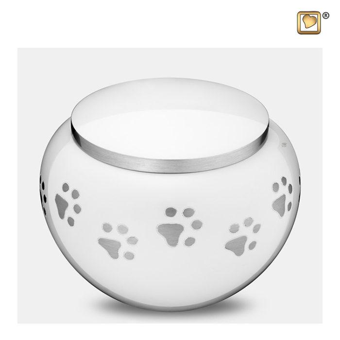 Große Tierurne Silberne Pfotenabdrücke Weiß (1,3 Liter) Tierurnen mit Pfötchenabdruck