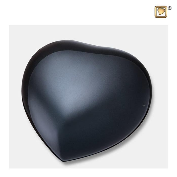 Herz Urne Mittelnachtschwarz Große (0,8 Liter) Messing Kleinurne Herz