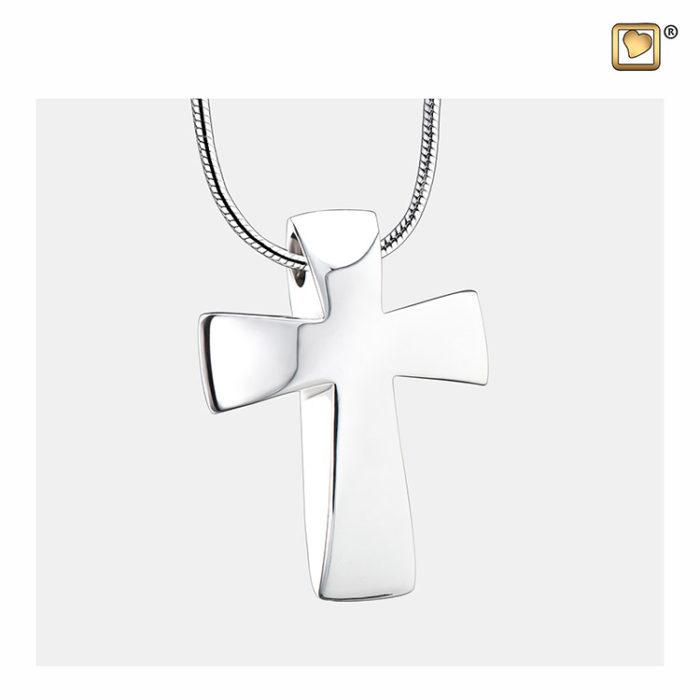 Ascheanhänger Kreuz Silber, inklusive Design Schlangecolliere Ascheanhänger Design mit Collier
