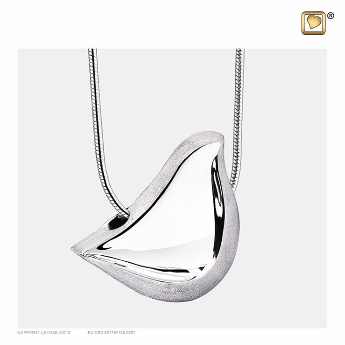 Ascheanhänger ´LoveBird´ Zweifarbiges Silber, inklusive Design Schlangecolliere Ascheanhänger LoveUrns mit Collier