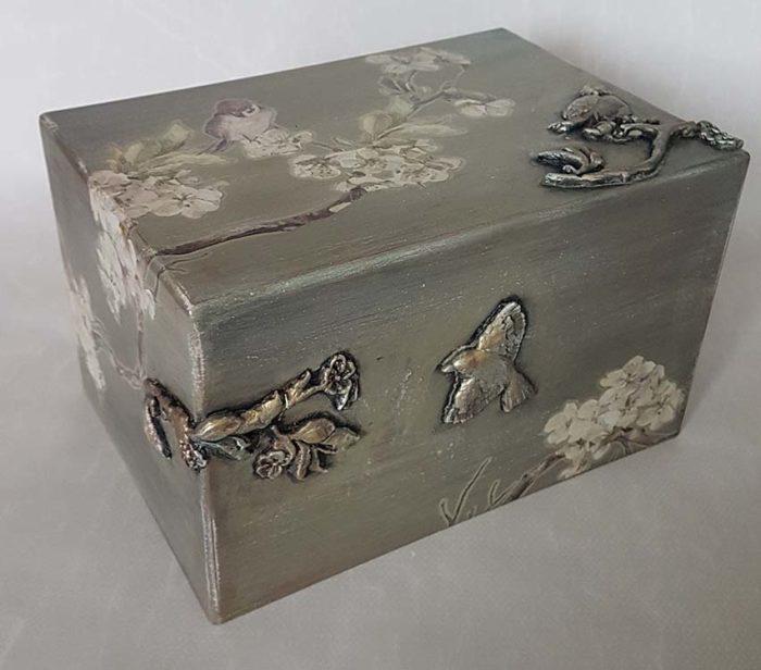 Design Urne Vögel und Blüte (3,5 Liter) Holz Design Urnen