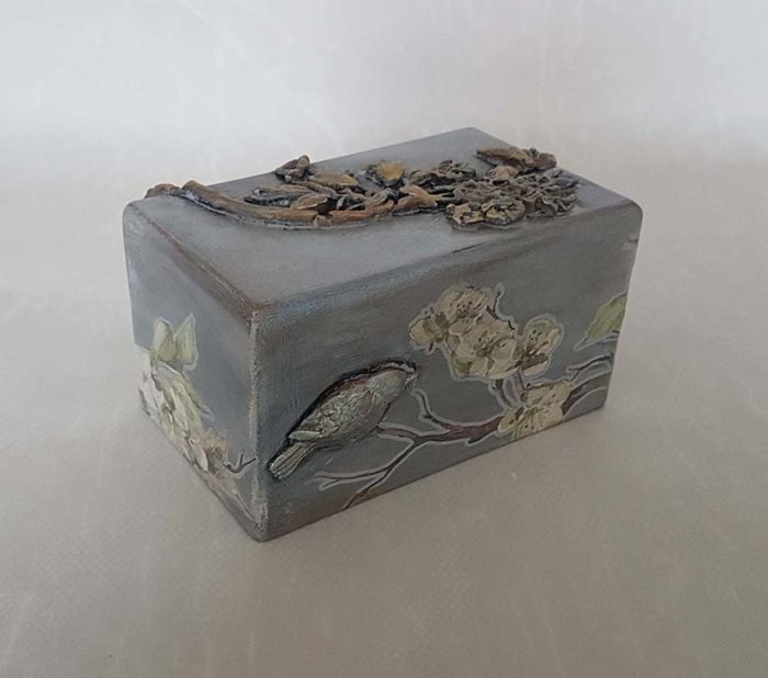 Design Mini Urne Vögel und Blüte (0,4 Liter) Holz Design Urnen