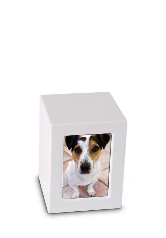 Kleine MDF FotoBox Tierurne Mattweiß (0,8 Liter) Hölzerne Tierurnen Photobox
