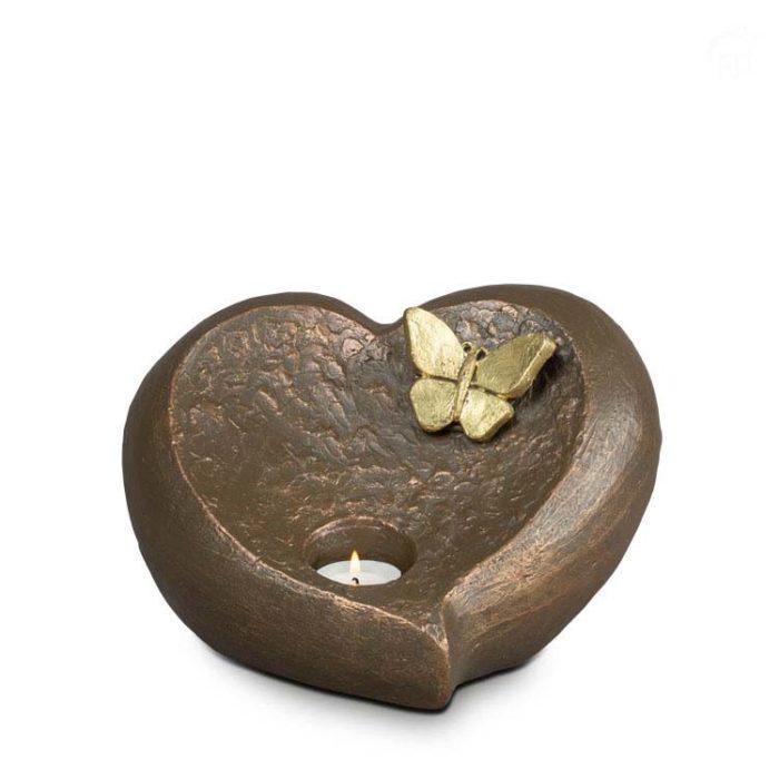 Große Keramische Tierurne Kerzenhalter Aschestatue Herz Unausweichlicher Abschied (3,0 Liter) Keramische Tierurnen