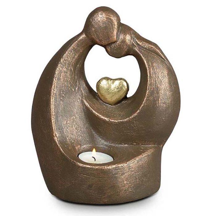 Große Keramische Aschestatue Beleuchteter Komfort mit Herz (3,0 Liter) Keramische Tierurnen