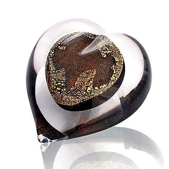 Kristallglas Herz Urne 24 Karat Blattgold (0,05 Liter) Glas Mini art Urnen