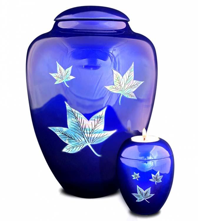 Große Glasfaser Urne Fallende Blätter Blau (3,4 Liter) Glasfaser Urnen