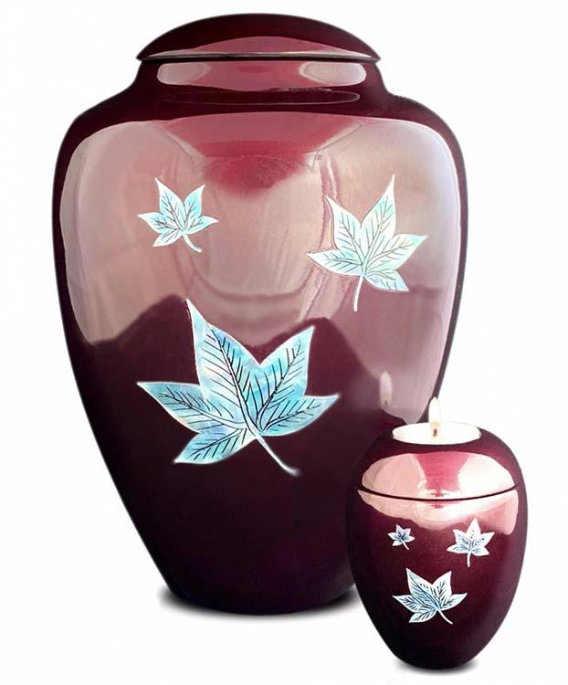 Große Glasfaser Urne Fallende Blätter Bordeaux (3,4 Liter) Glasfaser Urnen