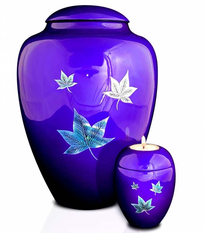 Große Glasfaser Urne Fallende Blätter Lila (3,4 Liter) Glasfaser Urnen