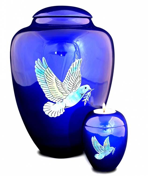 Große Glasfaser Urne Friedenstaube Blau (3,4 Liter) Glasfaser Urnen