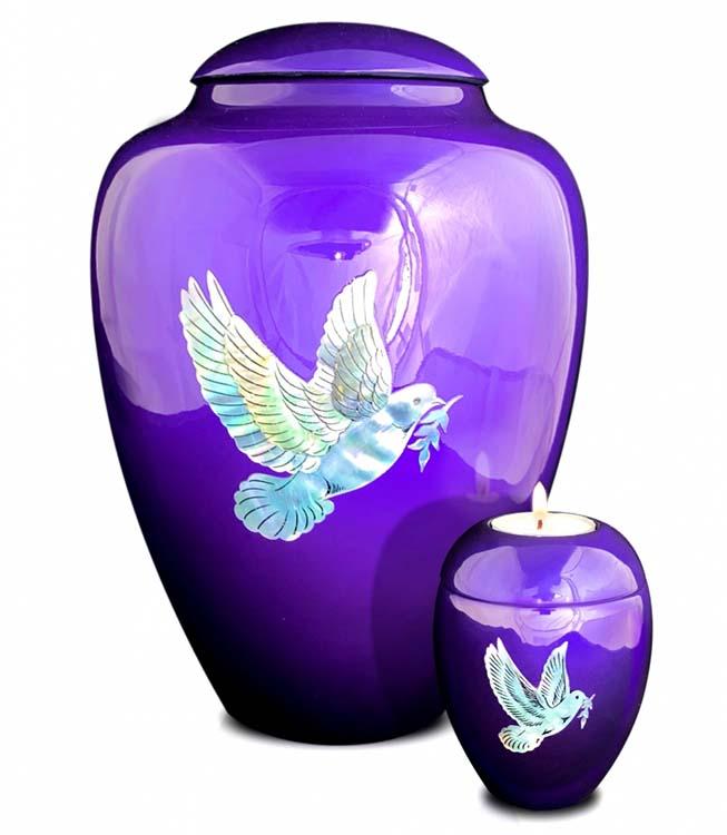 Große Glasfaser Urne Friedenstaube Lila (3,4 Liter) Glasfaser Urnen