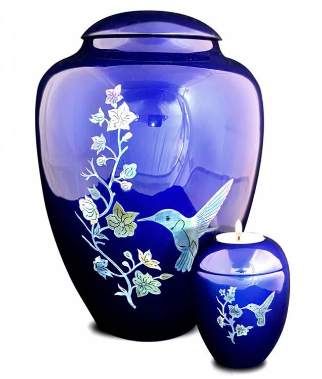 Große Glasfaser Urne Kolibri Blau (3,4 Liter) Glasfaser Urnen