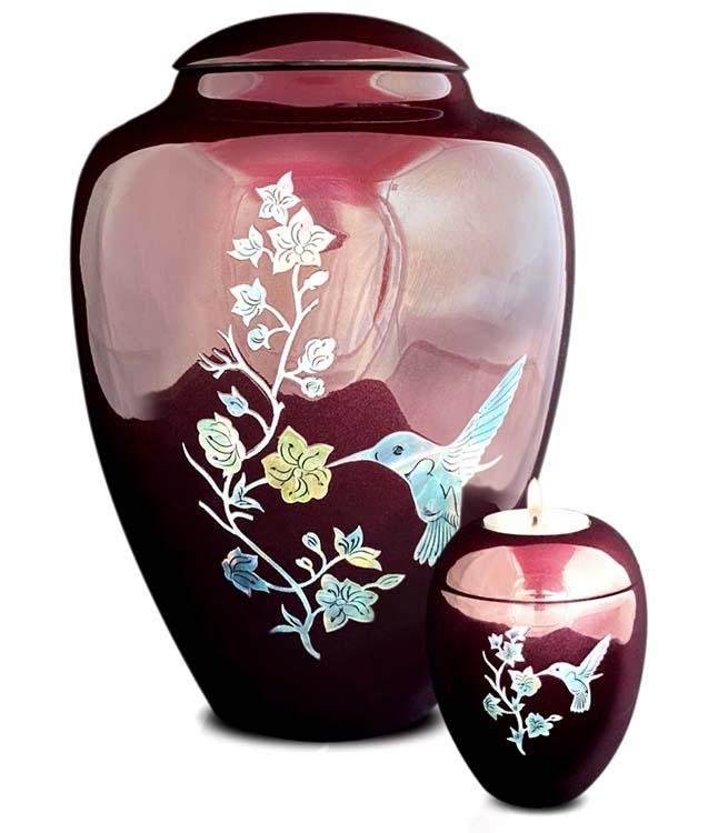 Große Glasfaser Urne Kolibri Bordeaux Rot (3,4 Liter) Glasfaser Urnen