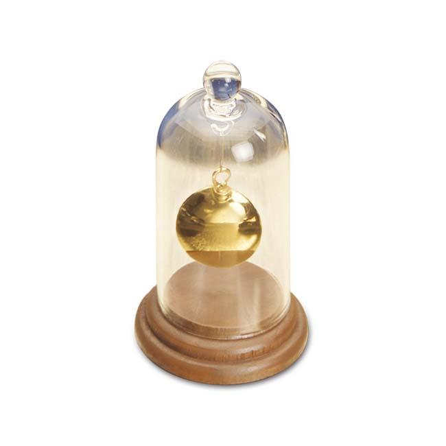 Mittelgroße Ascheschmuck Glocken Glas mit Holzsockel Glockenförmiger Anhänger für Asche
