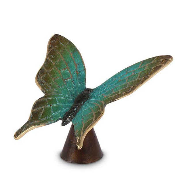 Aschestatue Grüne Schmetterling, 10.5 cm (0,01 Liter) Bronze Urnen
